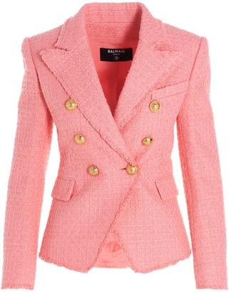 Balmain Boucle Double-Breasted Tweed Blazer