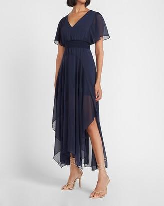 Express Smocked Waist Flutter Sleeve Midi Dress