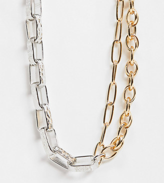 Reclaimed Vintage inspired mixed metal chain necklace in silver and gold