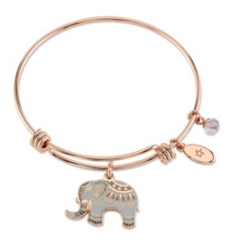 """Unwritten All Good Things are Wild and Free"""" Elephant Charm Adjustable Bangle Bracelet in Rose Gold-Tone & Stainless Steel with Silver Plated Charms"""