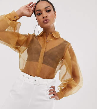 UNIQUE21 organza shirt with balloon sleeves-Brown