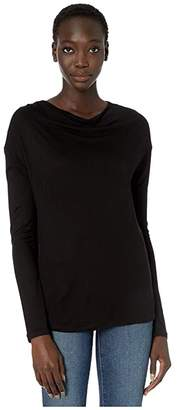 Vince Long Sleeve Drop Shoulder Tee (Black) Women's Clothing