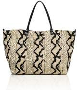 Valentino Snake-Print Canvas & Leather Tote