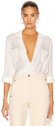 L'Agence Phoenix Front Wrap Tunic Blouse in Ivory | FWRD