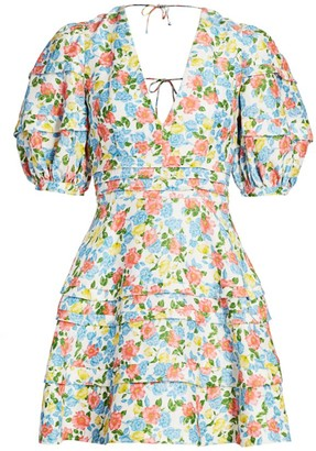 AMUR Avian Floral Puff-Sleeve Fit & Flare Dress