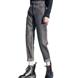 Nobrand Spring 2020 High Waist Mom Jeans Loose Women Harem Boyfriend Jeans for Women Straight Jeans with High Waist Ankle Length Pants Jeans Gray