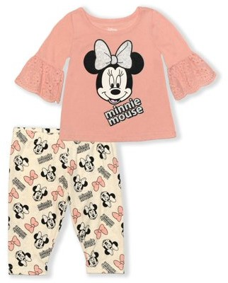 Minnie Mouse Disney Baby Girl Eyelet Top & Capri Legging Outfit, 2pc set