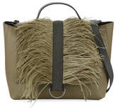 Brunello Cucinelli Lady Calf Top Handle Bag with Feathers