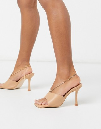 Public Desire Treasure square toe sandal with anklet detail in beige