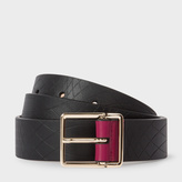 Paul Smith No.9 - Men's Black Leather Belt With Contrast End