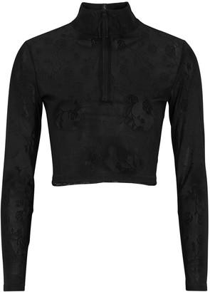 Adam Selman Sport Black Floral-intarsia Mesh Top