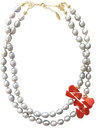 Farra Freshwater Pearls With Floral Corals Double Strand Necklace