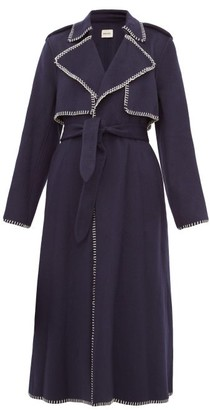 KHAITE Roman Whip-stitched Felt Trench Coat - Navy