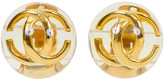 One Kings Lane Vintage Chanel Lucite CC Earrings - Vintage Lux - clear/gold