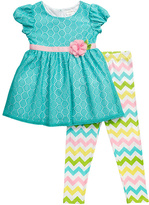 Youngland Turquoise & Pink Cap-Sleeve Top & Leggings - Infant