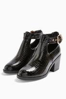 Topshop WIDE FIT BIANCA Black Croc Buckle Unit Boots