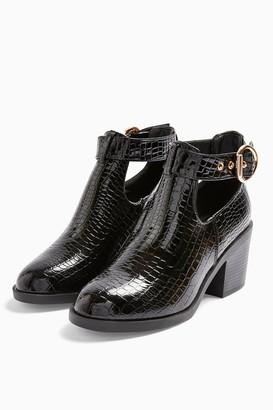 Topshop Womens **Wide Fit Bianca Black Croc Buckle Unit Boots - Black