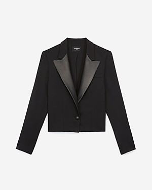 The Kooples Leather Lapel Blazer