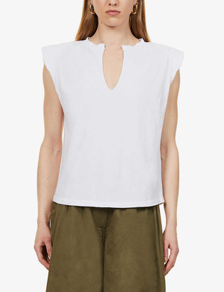 Frame Padded-shoulder cotton T-shirt