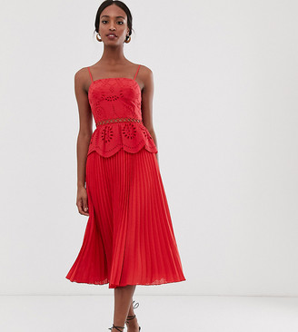 Asos Tall DESIGN Tall broderie cami midi dress with pleated skirt-Red