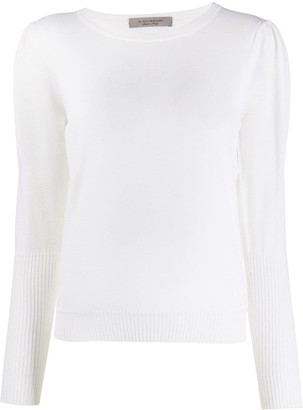 D-Exterior Ribbed Cuff Knit Jumper