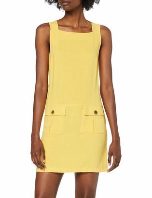 Dorothy Perkins Women's Yellow Linen Shift Midi Dress