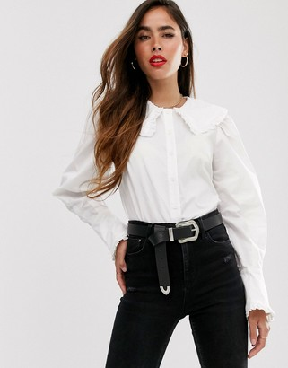 Asos Design DESIGN long sleeve shirt with ruffle collar in cotton-White