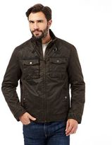 Mantaray Big And Tall Chocolate Waxed Biker Jacket