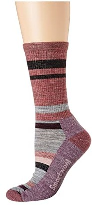 Smartwool Hike Striped Light Crew (Nostalgia Rose) Women's Crew Cut Socks Shoes