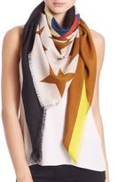 Givenchy Geometric Flag Wool & Silk Scarf