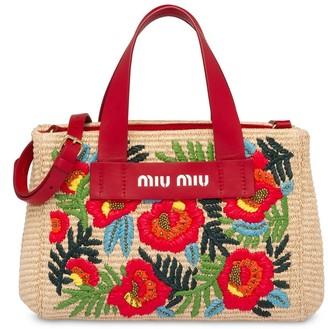 Miu Miu Floral Embroidered Tote Bag