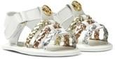 Michael Kors White Zia Baby Teza Metallic Strap Sandals