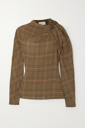 By Malene Birger Diora Gathered Prince Of Wales Checked Crepe Blouse - Camel