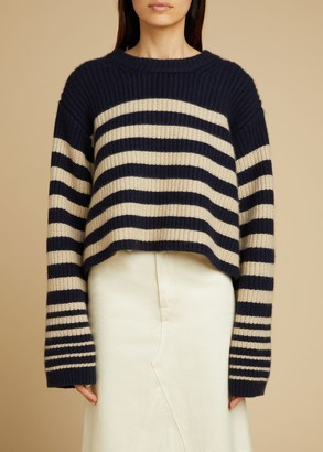 KHAITE The Dotty Sweater in Navy and Butter Stripe