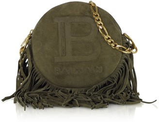 Balmain Suede Leather And Fringes 18 Disco Bag