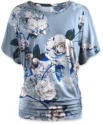 Udear UDEAR Women's Blouses Print - Blue Rose Dolman Top - Women & Plus