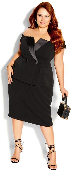 City Chic Chic Tux Dress - black