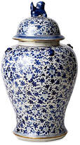 """One Kings Lane 23"""" Porcelain Flower Dog Jar - Blue/White"""