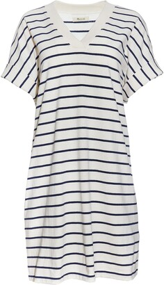 Madewell Indigo Stripe V-Neck T-Shirt Dress
