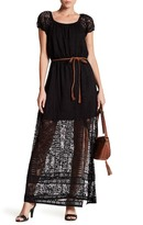 As U Wish Belted Lace Maxi Dress