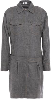 Brunello Cucinelli Bead-embellished Wool-blend Mini Shirt Dress