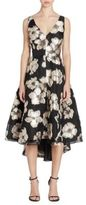 Lela Rose Metallic Floral Dress
