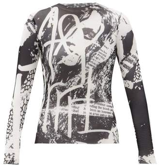 Marques Almeida Marques'almeida - Esme Newspaper-print Mesh Top - Womens - Black White
