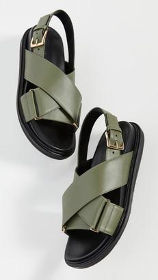 Marni Leather Crisscross Sandals