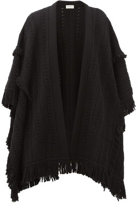 Saint Laurent Fringed Pointelle-knitted Wool Cape - Womens - Black
