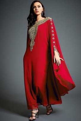 Jywal London Layla Red Embellished Kaftan Maxi Dress