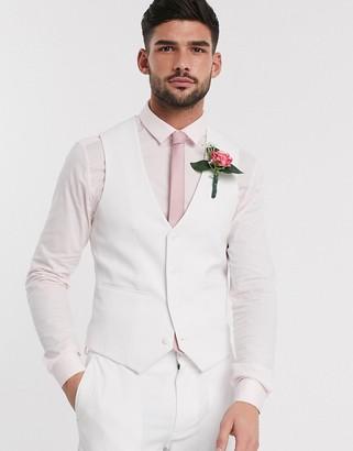 ASOS DESIGN super skinny suit waistcoat in white