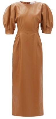 Gabriela Hearst Coretta Puff-sleeve Leather Midi Dress - Tan
