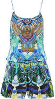 Camilla Embellished Printed Silk-georgette Playsuit - Turquoise