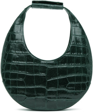 STAUD Green Croc Moon Bag